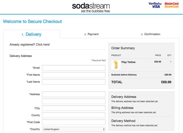 sodastream checkout pavyzdys