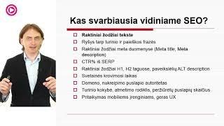 """VLADAS SAPRANAVIČIUS """"Vidinio SEO pagrindai"""""""